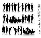 Rows Of Silhouettes Of Busines...