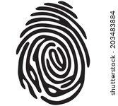 black fingerprint shape. secure ... | Shutterstock .eps vector #203483884