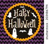 cute halloween invitation or... | Shutterstock .eps vector #203486794