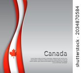 abstract waving flag of canada. ... | Shutterstock .eps vector #2034870584