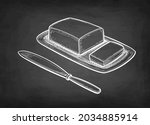 butter and table knife. chalk... | Shutterstock .eps vector #2034885914