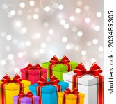 birthday gift boxes on shiny... | Shutterstock .eps vector #203489305