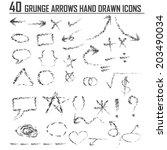 hand drawn arrow set. vector... | Shutterstock .eps vector #203490034