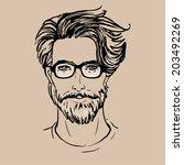 hipster. vector of a man face...   Shutterstock .eps vector #203492269