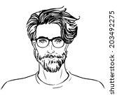 hipster. vector of a man face...   Shutterstock .eps vector #203492275