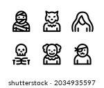 simple set of halloween related ... | Shutterstock .eps vector #2034935597