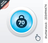 weight sign icon. 70 kilogram ...