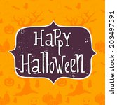 cute halloween invitation or... | Shutterstock .eps vector #203497591