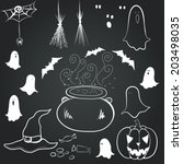 hand drawn set with spooky... | Shutterstock .eps vector #203498035