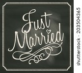 Just Married Lettering Sign On...