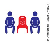 social distancing sitting the...   Shutterstock .eps vector #2035074824
