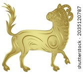 stylized bull or calf. taurus... | Shutterstock .eps vector #2035120787