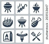 grill and barbeque related... | Shutterstock .eps vector #203513647