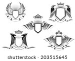set of five black and white... | Shutterstock .eps vector #203515645