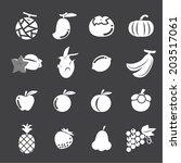 fruit icon set | Shutterstock .eps vector #203517061