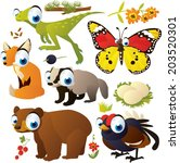 vector cartoon animal set ... | Shutterstock .eps vector #203520301