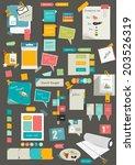 big set of reminder stickers.... | Shutterstock .eps vector #203526319