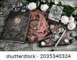 grunge still life with magic...   Shutterstock . vector #2035340324