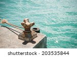 old rusted mooring bollard with ... | Shutterstock . vector #203535844