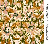 botanical seamless pattern with ... | Shutterstock .eps vector #2035364027