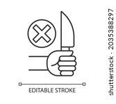 no sharp objects linear manual...   Shutterstock .eps vector #2035388297
