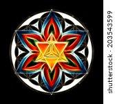 merkaba  flower of life  sacred ... | Shutterstock . vector #203543599