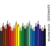 colored pencils in endless row