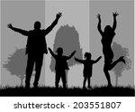 family silhouettes   Shutterstock .eps vector #203551807