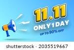 11.11 shopping day sale banner... | Shutterstock .eps vector #2035519667