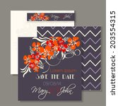 wedding invitation card with... | Shutterstock .eps vector #203554315