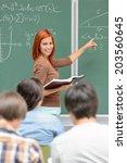 mathematics student girl... | Shutterstock . vector #203560645