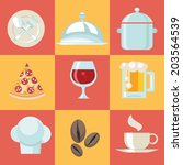 food icons set. vector... | Shutterstock .eps vector #203564539