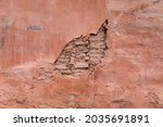 Pink Plaster On The Wall Of An...