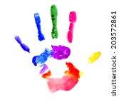 handprint painted in several... | Shutterstock .eps vector #203572861