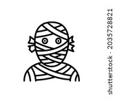 funny halloween mummy line icon.... | Shutterstock .eps vector #2035728821