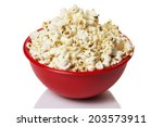 Red Bowl With Popcorn Isolated...