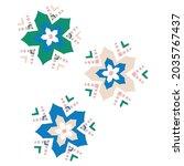 whimsical cute flower doodle... | Shutterstock .eps vector #2035767437