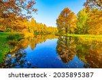 Autumn Park Landscape With A...