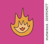 trendy hand drawn fire  symbol... | Shutterstock .eps vector #2035929077