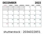 2022 december calendar vector...   Shutterstock .eps vector #2036022851