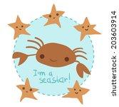 vector cute cartoon crab and...