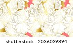 peony floral seamless pattern...   Shutterstock .eps vector #2036039894