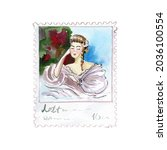 Watercolor Postage With A Woman ...