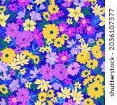 trendy seamless vector floral... | Shutterstock .eps vector #2036107577