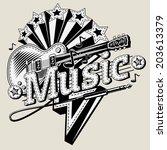 decorative music emblem   Shutterstock .eps vector #203613379