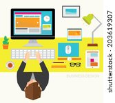 creative business and office... | Shutterstock .eps vector #203619307