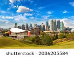 Panoramic view of Calgary in a sunny day, Canada