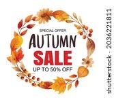 autumn sale banner template...   Shutterstock .eps vector #2036221811
