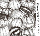 pumpkin seamless pattern.... | Shutterstock .eps vector #2036287337