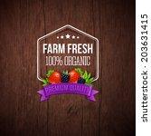 farm fresh poster. wooden...   Shutterstock .eps vector #203631415